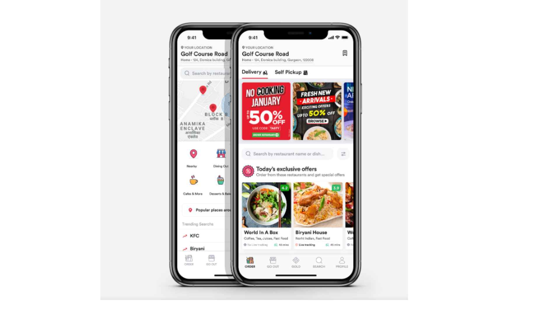 Zomato app for Android and iPhone