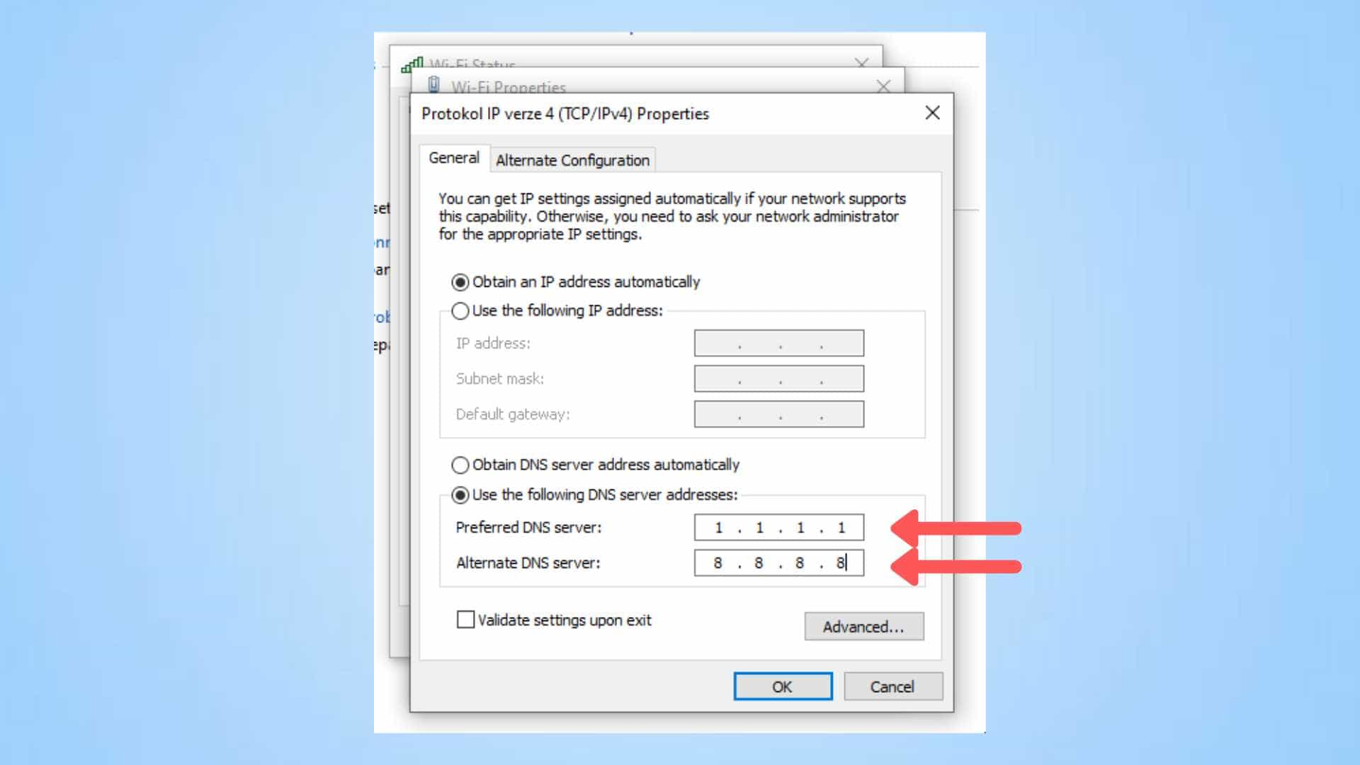 how to change DNS settings on Windows 10