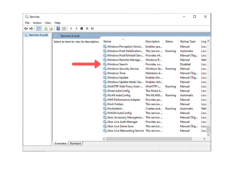 how to disable windows search service