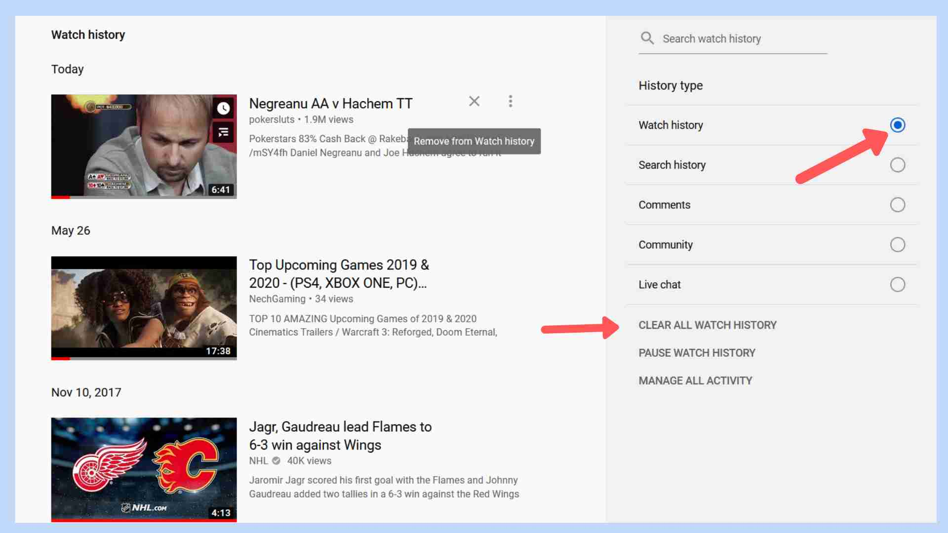 How To Clear Entire Viewing History On YouTube