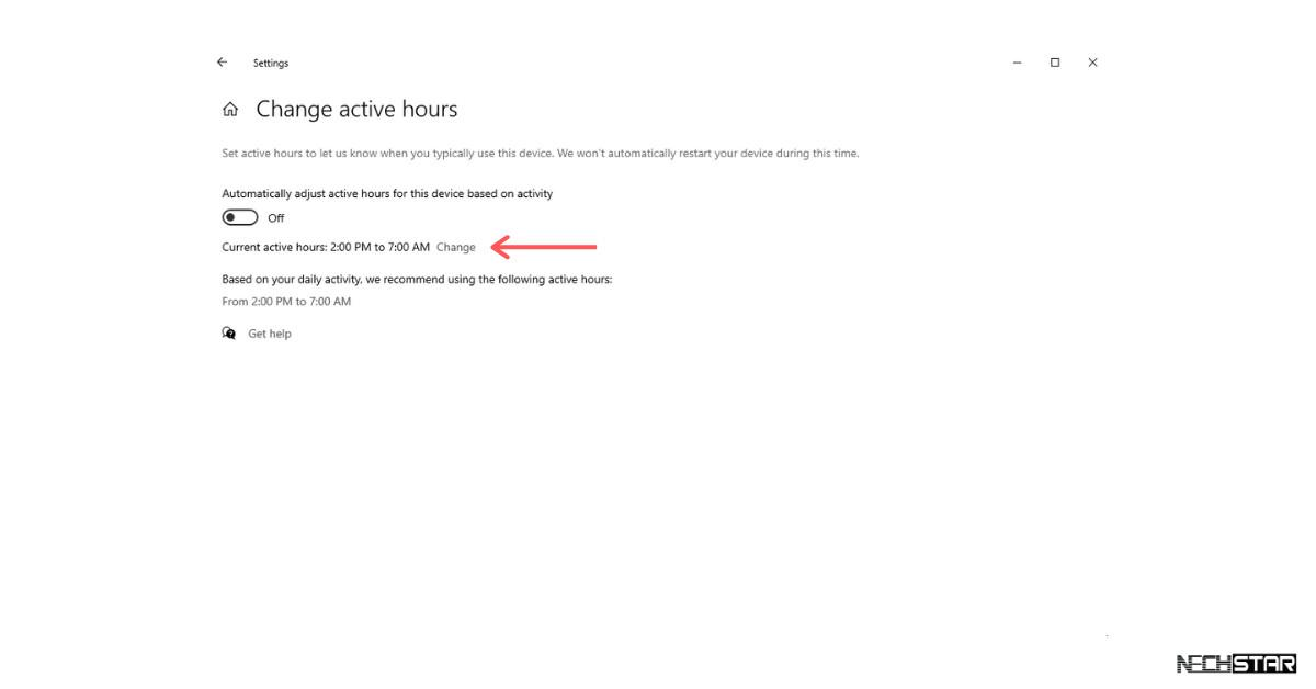 Enable active hours in Windows 10